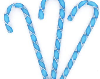 Handblown Art glass  Glass Candy Canes, Aqua Ribbon  Collection