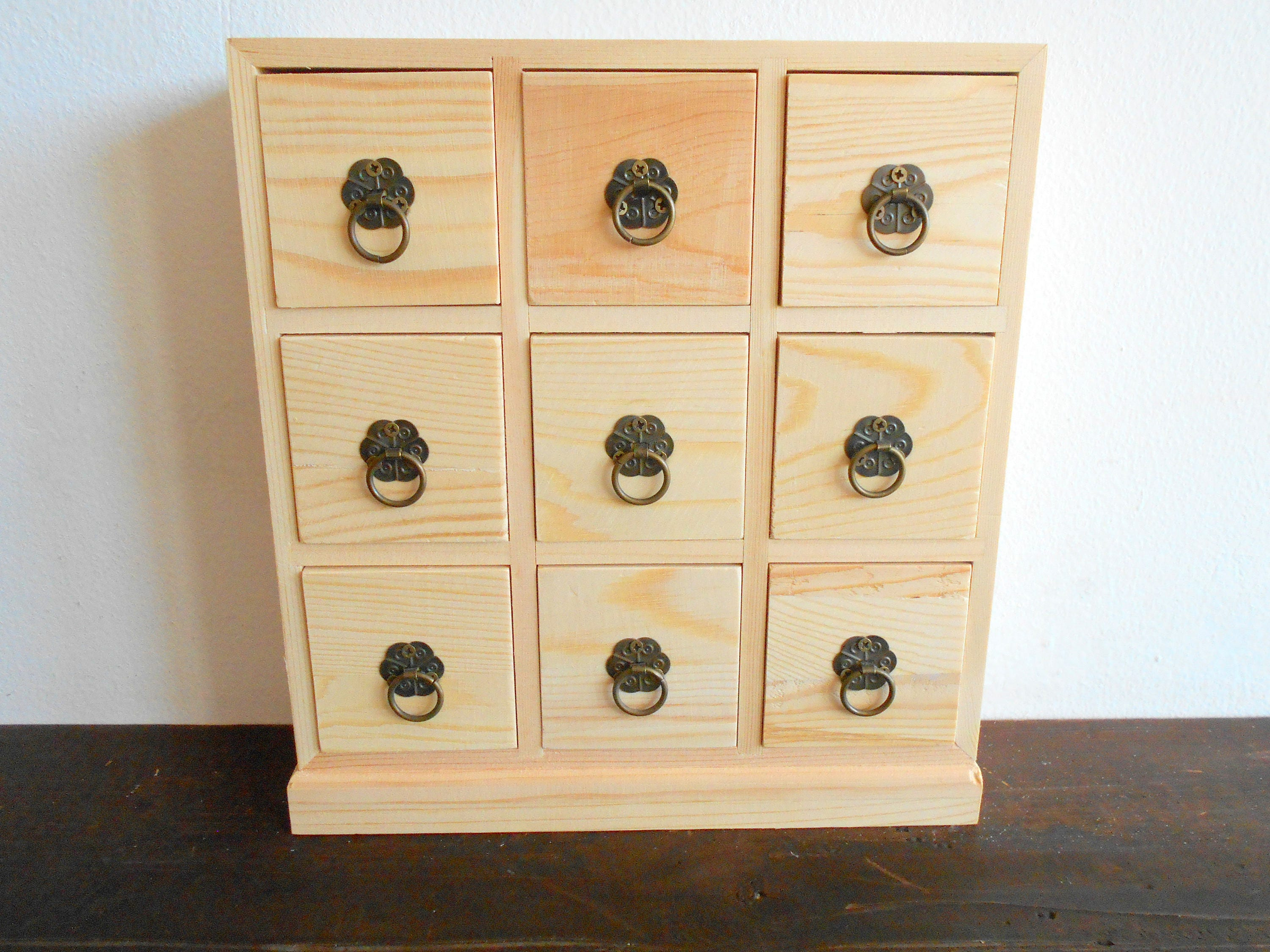 wooden drawers box 9 drawers jewelry chest of drawers. Black Bedroom Furniture Sets. Home Design Ideas