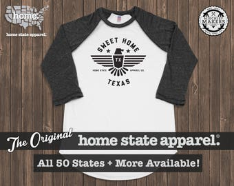 Sweet Home Raglan: Charcoal on White Baseball Raglan Shirt