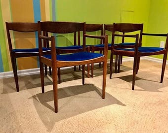 6 Mid Century Rosewood Dining Chairs by Bramin of Denmark
