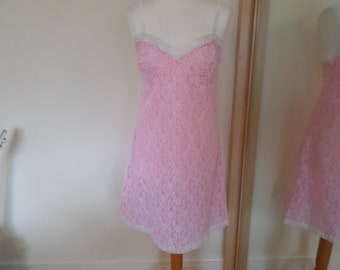 Pink & White nightdress White lace lined with Pink nylon