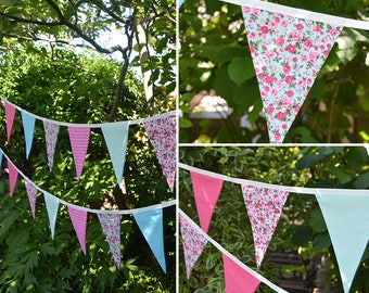 Handmade Fabric Bunting in Beautiful Shades Pink Turquoise Floral/Checks/Pin Dot Design 24 Double-Sided Flags for Home, Parties and more!