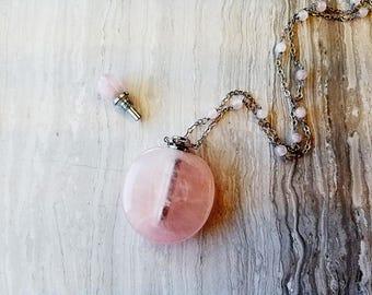 Essential Oil Diffuser Bottle Necklace Rose Quartz, Perfume Necklace, Bottle Pendant, Pink Stone Pendant, Heart Chakra Necklace, Love Stone