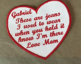"THESE ARE JEANS I used to wear Memory Patch - Sew On, 4.5"", Heart Shaped Memorial Patch, In Memory Of, Shirt Pillow Patches, Memory Patches"