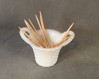 Vintage Authentic Milk Glass Toothpick Holder, Woven Basket with Handles, Charming