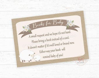 Floral Lamb Books for baby cards, book request, book cards, baby's library, Little Lamb Baby Shower PRINTABLE FILE