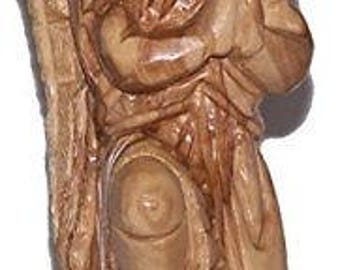 Praying kneeling Angel - carved in olive wood ( 19cm or 7.5 Inches )
