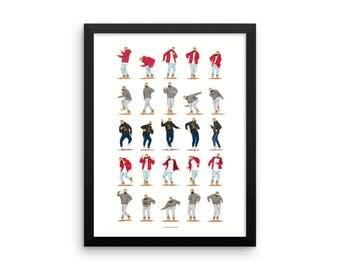FRAMED Hotline Bling Dance Music Poster, Dance Tutorial Illustration, Funny Poster, Fun Pop Art Wall Art, Fan Art