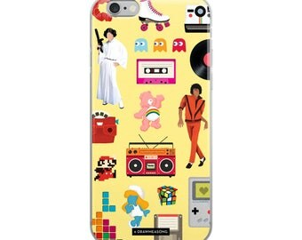 Acceptable in the 80s Yellow iPhone 5/5s/Se, 6/6s, 6/6s Plus Case, Pop Art Dance Electro Song, Eighties Fun Music Art, Pop Culture Gift