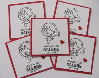 Mermaid Valentine's Day Cards, Valentine's Mermaid Cards, Mini Valentine's Day Cards, Classroom Cards, Kids Valentine Cards, Mermaid Cards