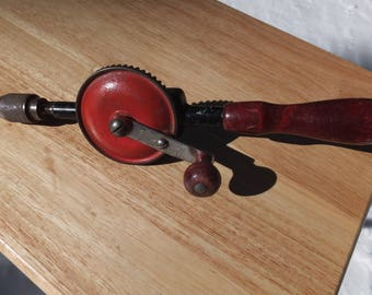 Millers Falls 77 Hand Drill, Hand Drill with Wooden handle - yard art or home decor