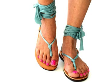 Barefoot Sandals, Greek leather sandals, Teal Hippie Sandals, Foot Jewelry,  steel chains Toe Thong, festival accessories for feet,
