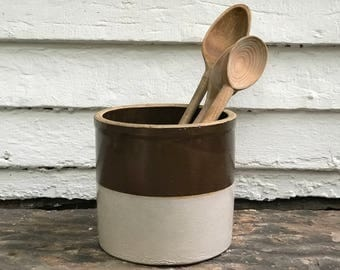 "antique crock ~ perfect for utensils ~ brown & white crock ~ old crockery ~ 7"" large kitchen crock ~ utensil crock ~ farmhouse antique"