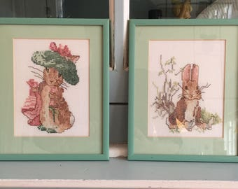 Handmade Beatrix Potter Framed Embroidery Peter Rabbit Set of 2 Nursery Decor