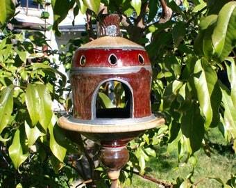 Large Red and Copper Raku Bird Feeder #13, Metallic Ceramic Raku Bird Feeder, Hanging Pottery Lantern