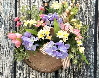 Spring Wreaths for Front Door, Front Door Wreaths, Easter Wreath, Farmhouse Door Wreaths, Blue Hydrangea, Galvenized Door Hanger