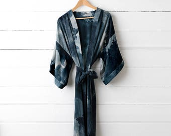 Printed Silk Dressing Gown - Midnight Ink