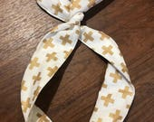 White with Gold Crosses Wire Twist Headband, Rosie the Riveter
