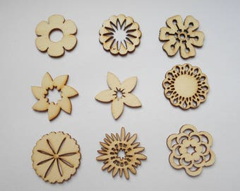 wooden figurines wooden nature theme, nine flowers 9 embellishments