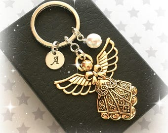 Gold Angel keyring - Guardian Angel keychain - Christmas Angel - Angel charm keyring - Initial Angel keyring - Stocking filler - UK