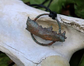 Blue Oxidized Copper Jawbone Pendant Necklace