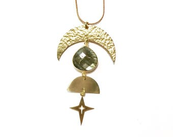 Aphelion Celestial Necklace / Labradorite, Crescent, Half Moon, and Star