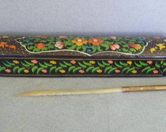 Vintage Enameled Quill/Pen/Pencil Box - Hand Painted Papier Mache Quill/Pen Box - Desk Accessary - Pen Box - Quill Box