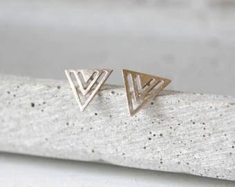 Rose Geometrics - gold plated ear studs A46