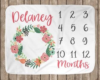 Floral Wreath Baby Milestone Blanket // Baby Girl Pink Flower Wreath // Baby Shower Gift Personalized Milestone Blanket BB001