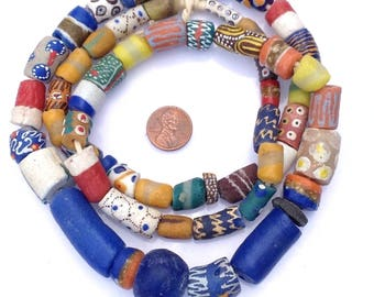 59 Mixed Ghana Recycled Glass Trade Beads