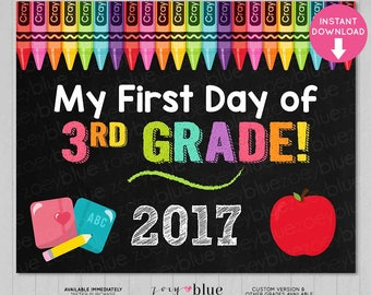 First Day of Third Grade Sign - Girl 3rd Grade First Day of School Chalkboard Sign - PreK Photo Prop - Instant Download - Printable Digital