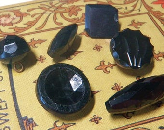 6 Div 1 Antique Black Glass Buttons Victorian Plate and Loop Shank