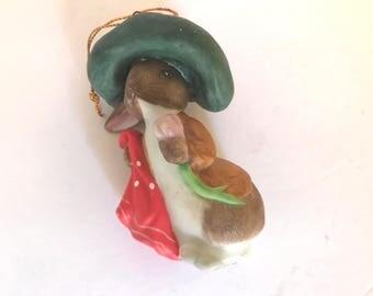 Vintage Benjamin Bunny Beatrix Potter Schmid Porcelain Christmas Ornament 1986