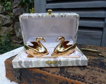 French vintage Limoges gold swan salt and pepper cellar. Gilded porcelain salt and pepper bowls. Set of 2 in presentation box