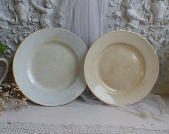 Set of 2 Antique french round tea stained ironstone platters. Large ironstone platter. Rustic photo prop Jeanne d'Arc living. French Nordic