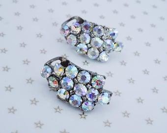 Vintage Silver Tone Clear Aurora Borealis AB Rhinestone Clip On Earrings //Mad Men// //60s//