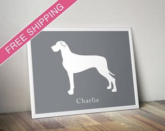 Personalized Great Dane Silhouette Print with Custom Name (Natural Ears) - Great Dane art, modern dog home decor, dog poster, dog gift