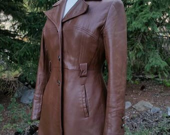 Vintage 1970s Brown Leather Jacket Fotted Button Up with Liner by Nestels of Canada