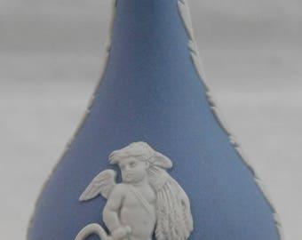 "Wedgwood Blue Jasperware Miniature Bud Vase 3"" Cherub Made in England"