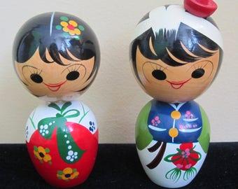 "Original 1970's Japanese Boy & Girl 4 1/2"" Wooden Bobble Head Nodder Set"