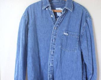 vintage calvin klein oversized blue chambray denim shirt womens *