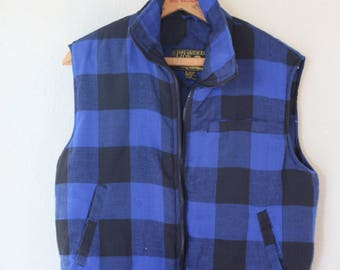 vintage black & blue  buffalo check puff vest *