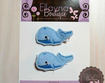 Felt Hair or Planner Clips - Whales