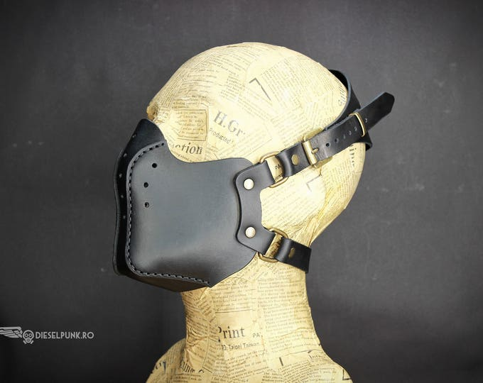 Steampunk Mask , Leather Mask - Burning Man - Halloween Mask - Mouth Mask - LARP - Cyberpunk mask - cosplay - post apocalyptic - gas mask