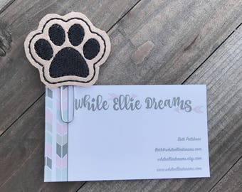 Paw Planner Clip, Dog Paw Paper Clip, Paw Print Bookmark, Planner Accessories, Planner Supplies