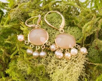 Solid 14K Yellow Gold Earrings Genuine Rose Quartz & Pearl 3.8 Grams