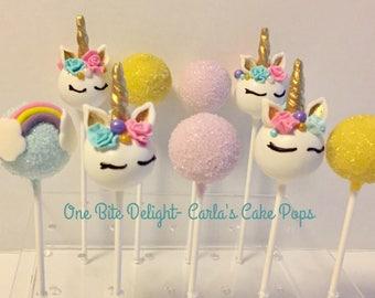 24 unicorn, rainbow, sugared cake pops, birthday, baby shower, My Little Pony.