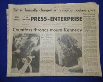 Robert Kennedy Assassination 6 - 8 - 68 The Press-Enterprise Riverside Newspaper