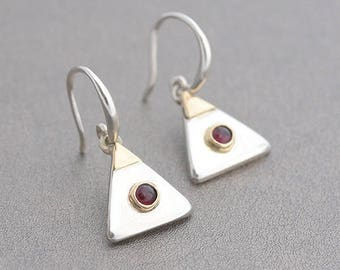 Garnet Jewelry, Pyramid Inspired Silver Earrings & Garnet, Garnet Earrings, Silver Triangular Earrings, January Birthstone Garnet Jewellery