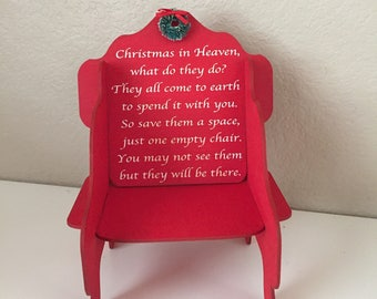 Christmas in Heaven Wooden Chair, Personalized Memorial Gift, Holiday Memorial of Loved One, Lost Loved One Gift, Christmas in Heaven poem